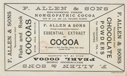 Advert For F. Allen & Sons, Confectionery Works reverse